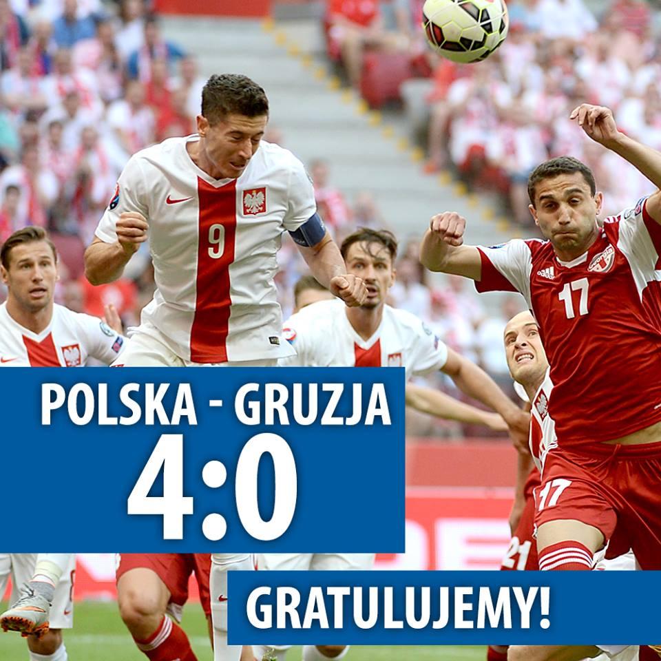 Piłkarska reprezentacja Polski pokonała w Warszawie Gruzję 4:0 w meczu eliminacji mistrzostw Europy 2016