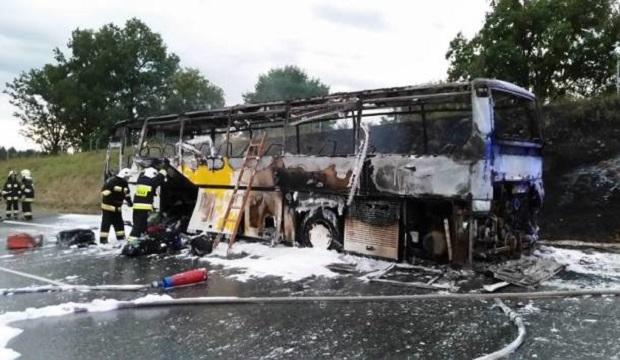 Pożar autokaru z dziećmi wracającymi z kolonii