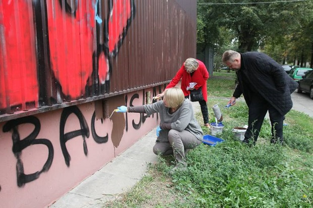 Akcja zamalowywania nienawistnych napisów w Łodzi