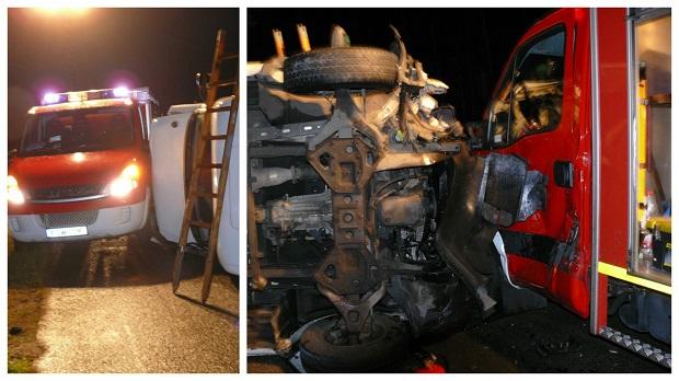 Lubuskie: Chwila grozy na A2. W wóz strażaków uderzyła ciężarówka