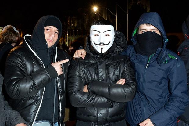 Antykapitalistyczny marsz w Dniu Guya Fawkesa w Seattle