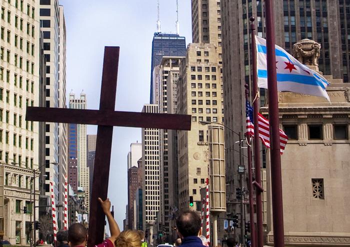 Droga Krzyżowa w centrum Chicago