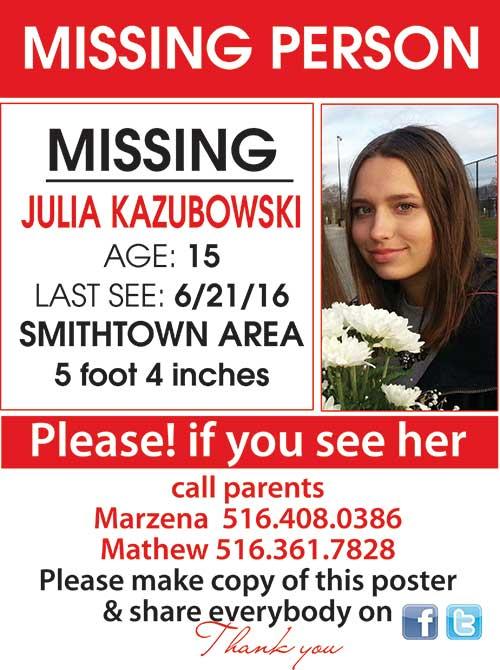 Missing – Zaginęła  Julia Kazubowski z Smithtown NY, Long Island