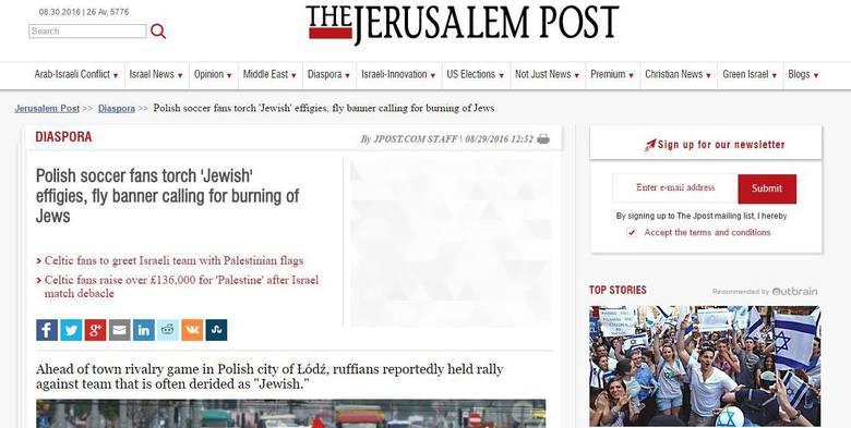Prasa w Izraelu oburzona zachowaniem kiboli Widzewa Łódź