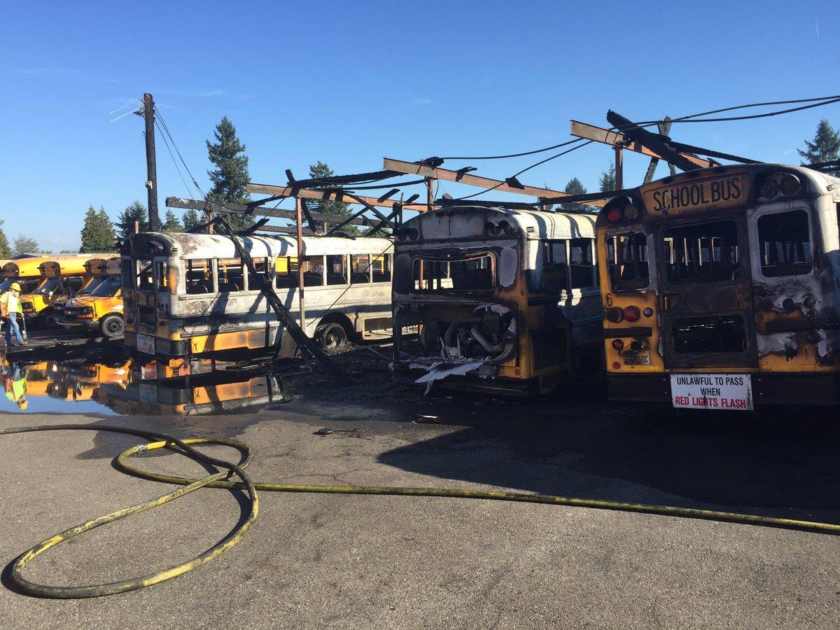 Kilkadziesiąt autobusów szkolnych spłonęło w wielkim pożarze