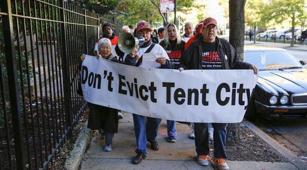 Protest wsparcia dla bezdomnych w Chicago
