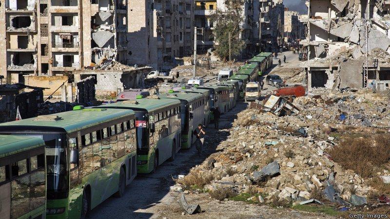 Ewakuacja cywilów i rebeliantów z Aleppo