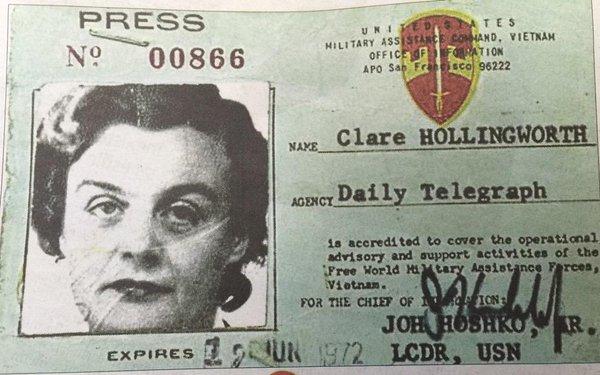 Zmarła dziennikarka Claire Hollingworth, która pierwsza poinformowała świat o początku II wojny światowej