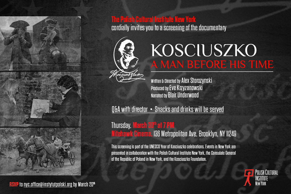 """Projekcja filmu """"Kosciuszko a Man Ahead of His Time"""" na Williamsburgu"""