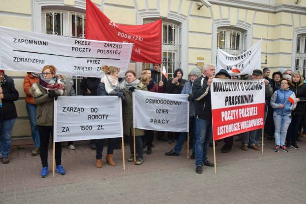 Protesty pracowników Poczty Polskiej