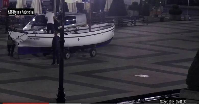 Nietypowe zabawy młodzieży na rybnickim rynku nagrane przez monitoring