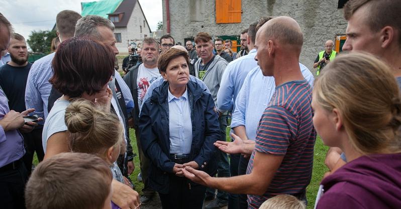 Premier i ministrowie w Chojnicach: Do końca sierpnia zostaną oszacowane straty po nawałnicy