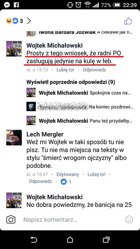 """Poznański działacz Razem: """"Radni PO zasługują na kulę w łeb"""""""