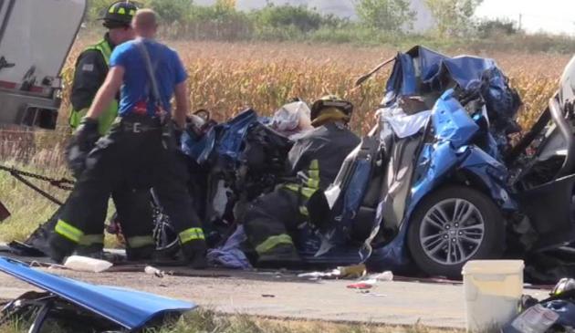 Śmiertelny wypadek w Manteno na I-57. Ciężarówka zgniotła samochód osobowy