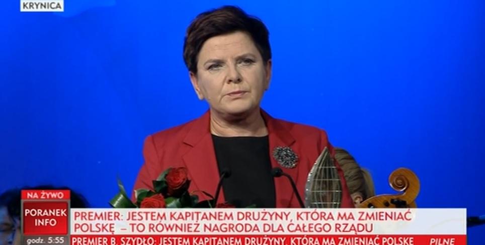 """Krynica: Premier Beata Szydło """"Człowiekiem Roku"""" XXVII Forum Ekonomicznego"""