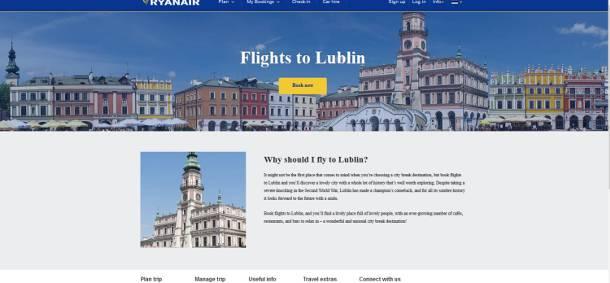 Warto przyjechać do Lublina – zachęca Ryanair… i reklamuje go zdjęciami Zamościa