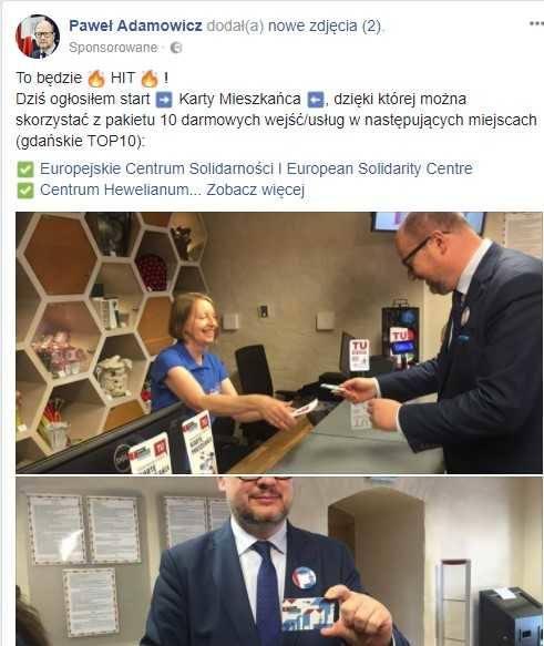 Gdańsk: Prezydent Adamowicz wykupił post sponsorowany na Facebooku. Kto za to zapłacił?