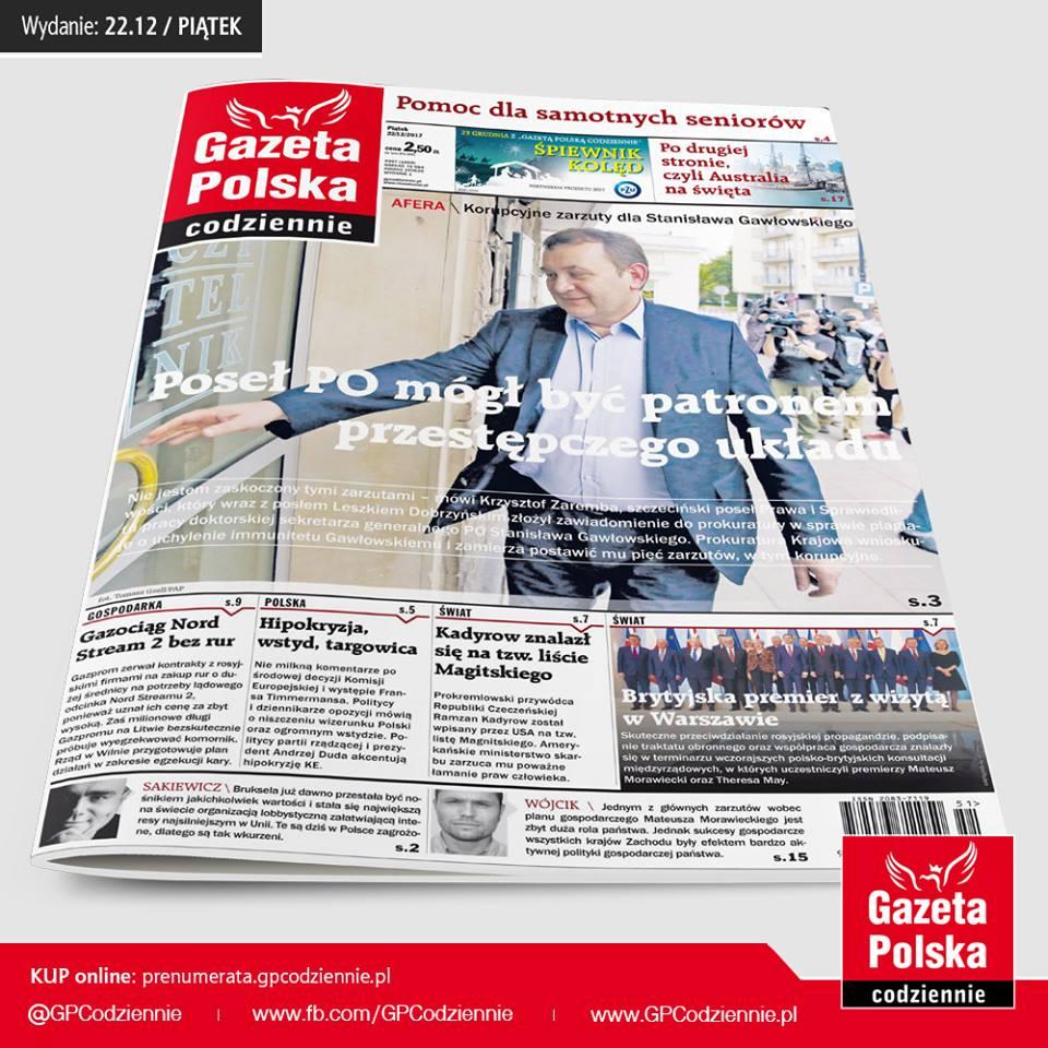 """""""Gazeta Polska Codziennie"""": Sekretarz generalny Platformy Obywatelskiej Stanisław Gawłowski ostrzegał szefa grupy przestępczej"""