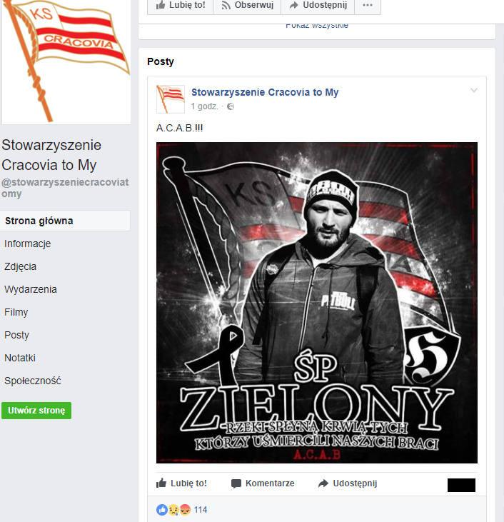 Kraków. Autor skandalicznego wpisu na facebookowym profilu kibiców Cracovii zatrzymany