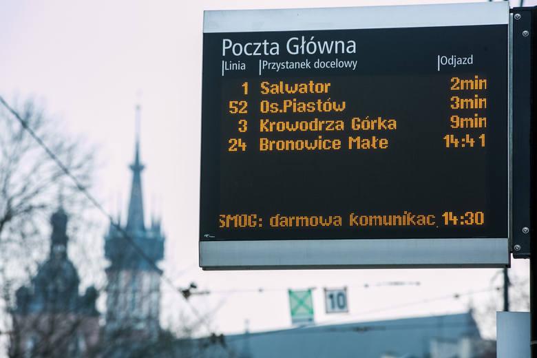 """Kraków. W niedzielę wzrośnie zanieczyszczenie powietrza. Będzie """"smogowa"""" komunikacja"""