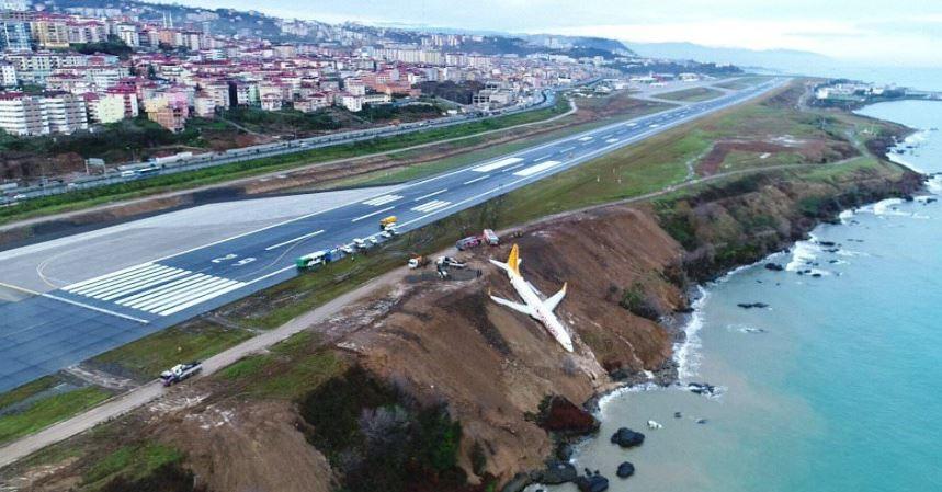 Turcja: Samolot ze 162 osobami na pokładzie zawisł nad stromym morskim klifem