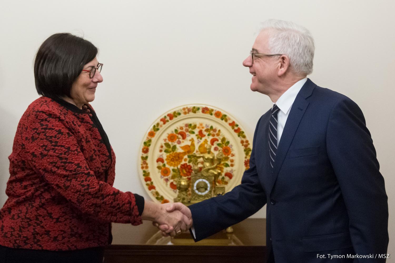 Minister spraw zagranicznych Jacek Czaputowicz przyjął ambasador Izraela Annę Azari