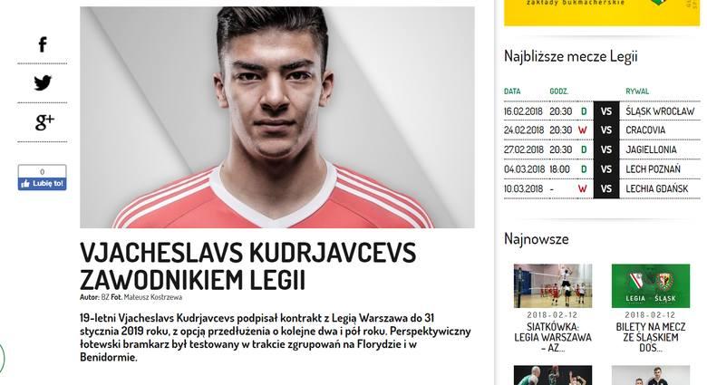 Legia zakontraktowała młodego bramkarza z Łotwy