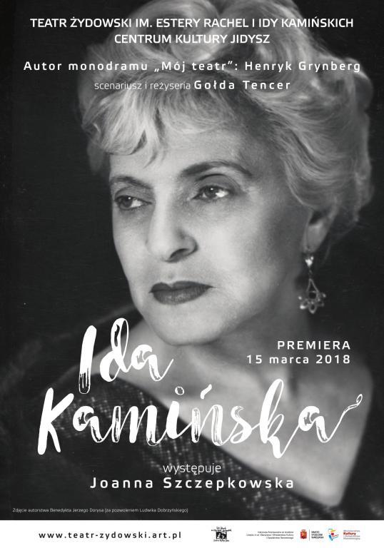 """Warszawa: Premiera monodramu """"Ida Kamińska"""" w Teatrze Żydowskim"""