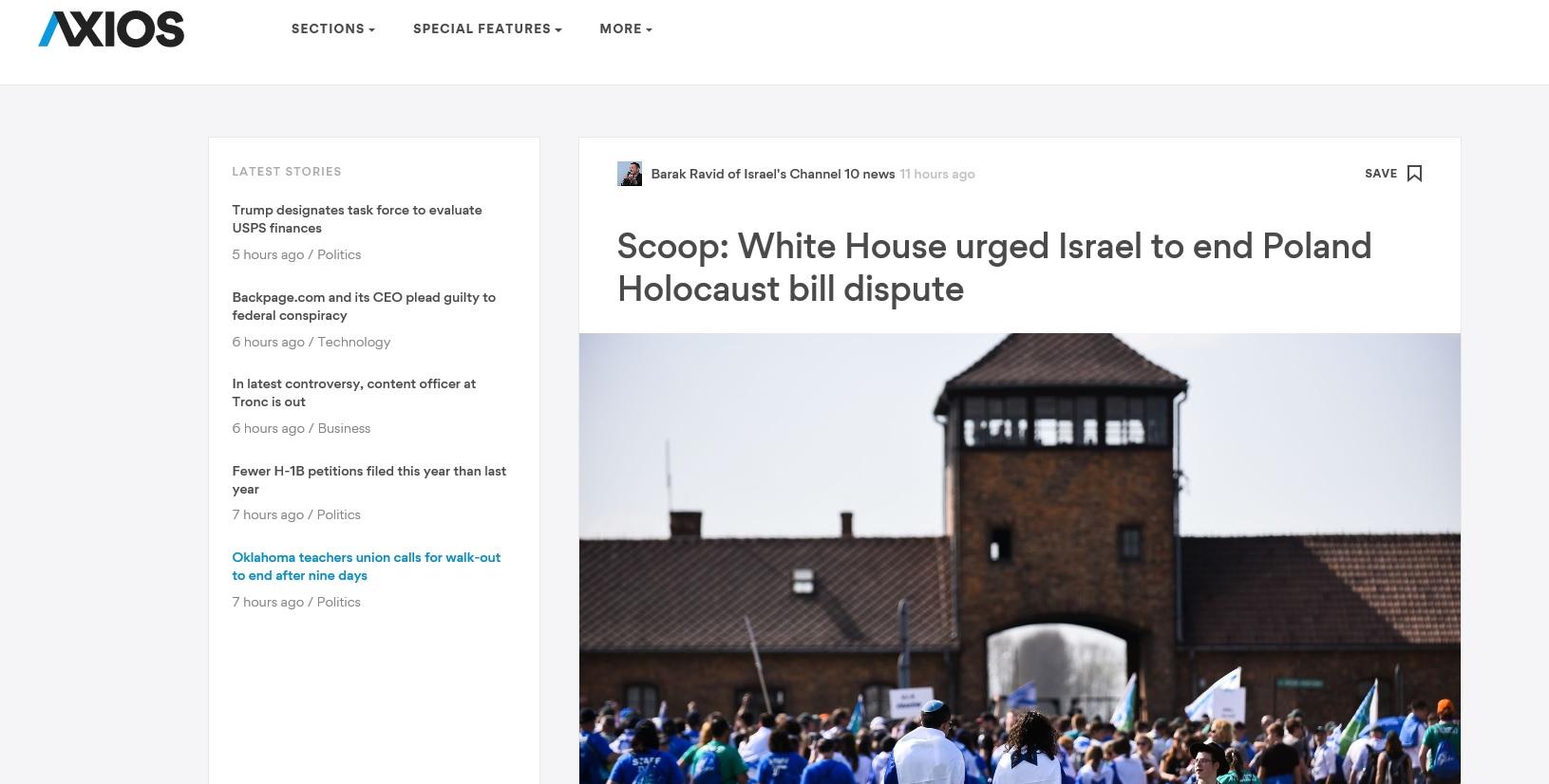 Axios.com: Biały Dom wzywał Izrael do zakończenia sporu z Polską