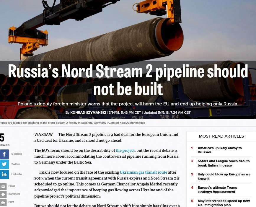 Szymański w Politico: Nord Stream 2 nie może powstać