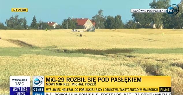 Katastrofa Miga-29 koło Pasłęka. Pilot zginął