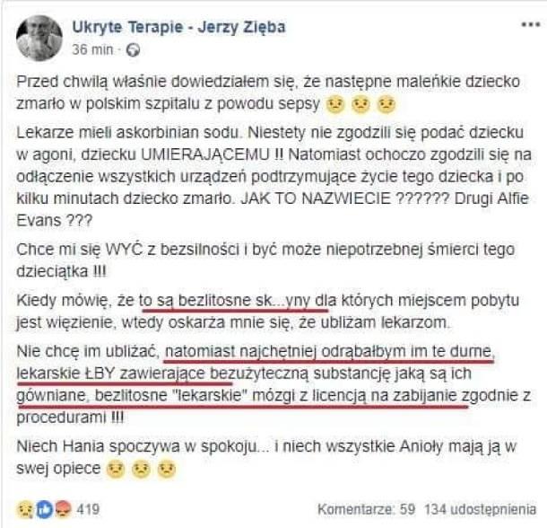 """Poznań: """"Odrąbałbym im te durne lekarskie łby"""" – za te słowa Jerzy Zięba trafi do prokuratury"""
