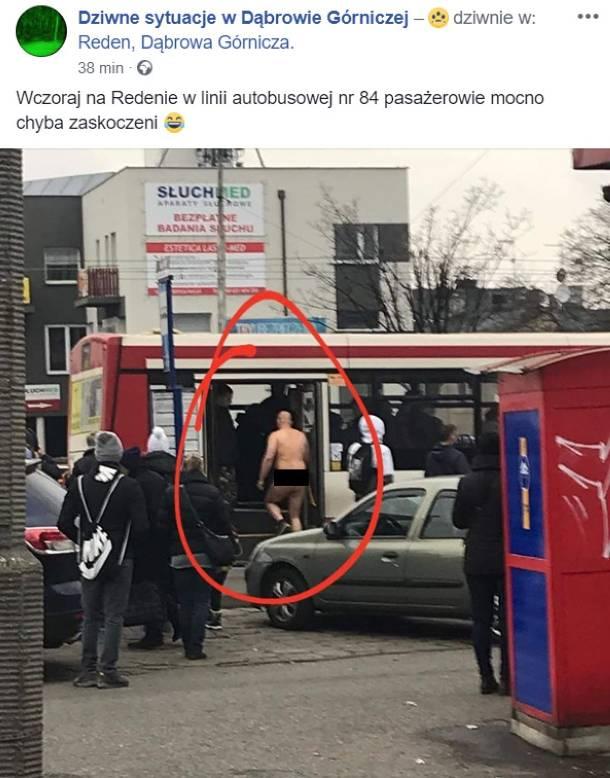 Dąbrowa Górnicza: Nagi mężczyzna w autobusie linii 84. A na dworze mróz…