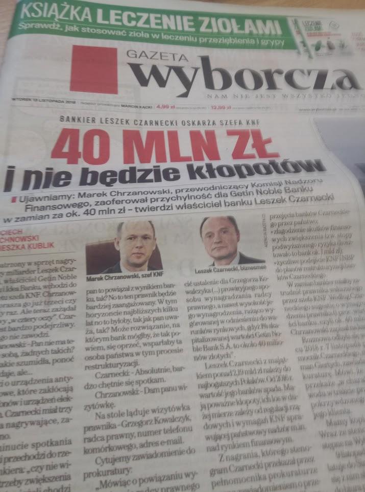 Sprawa spotkania szefa KNF z Leszkiem Czarneckim musi zostać wyjaśniona