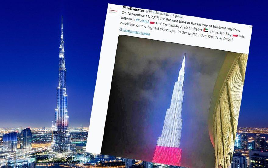 Najwyższy budynek świata w narodowych barwach Polski. Burdż Chalifa na biało-czerwono