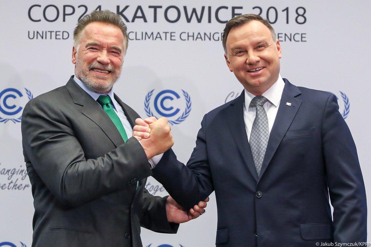 Prezydent Andrzej Duda rozmawiał o zmianach klimatu z Arnoldem Schwarzeneggerem