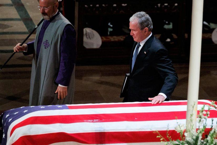 Ciepło i z miłością wspominali George'a H. W. Busha, łzy zastąpił śmiech w świątyni