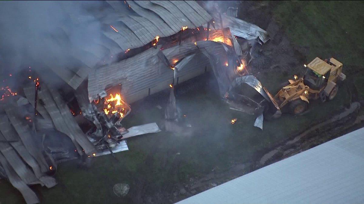 Pożar farmy z kurami w Grant Park