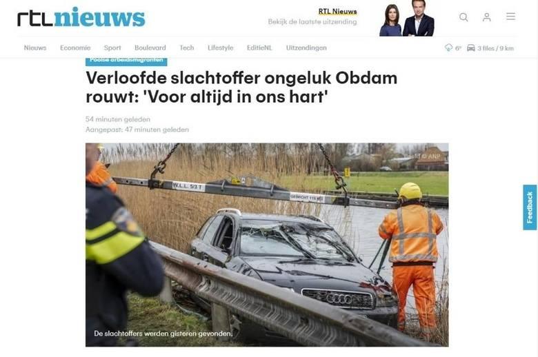 Tragiczny wypadek Polaków w Holandii. Cztery ciała w zatopionym audi. Pochodzili z okolic Hrubieszowa