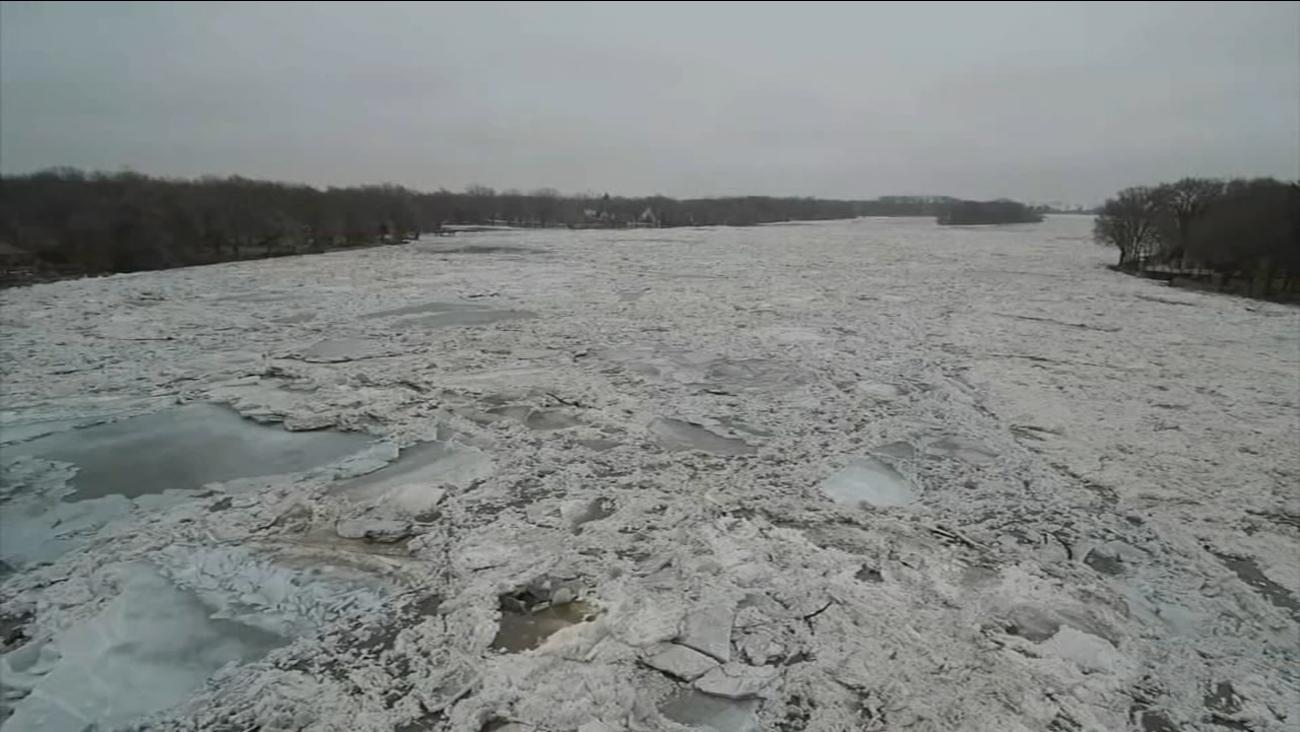 Lodowy zator na rzece Kankakee