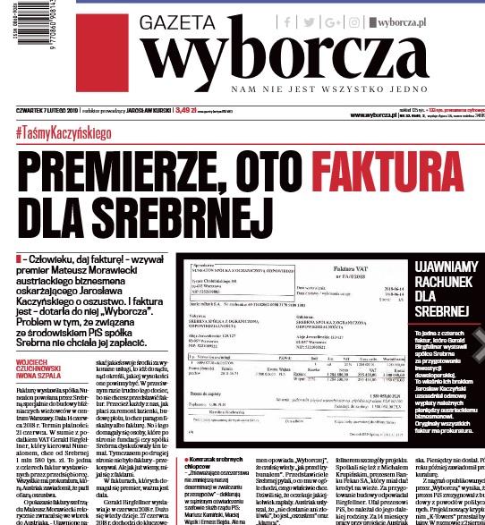 """Taśmy Kaczyńskiego: """"Gazeta Wyborcza"""" ujawnia fakturę """"dla Srebrnej"""""""