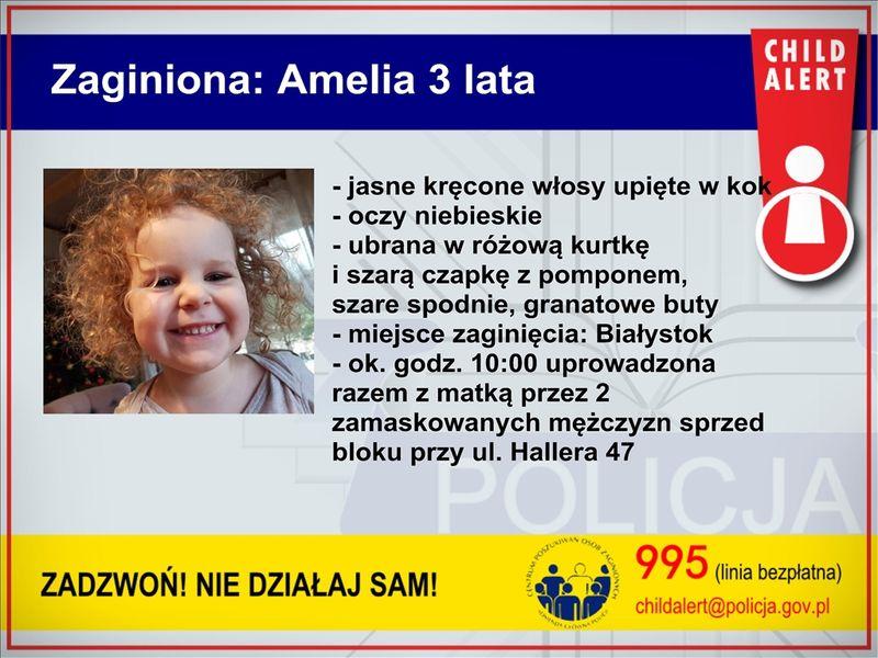 Policjanci poszukują uprowadzonej matki i jej 3-letniej córki Amelki