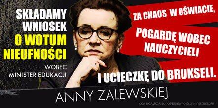 """Wniosek PO o odwołanie minister edukacji Anny Zalewskiej. Jest """"osobiście odpowiedzialna za chaos w oświacie"""""""