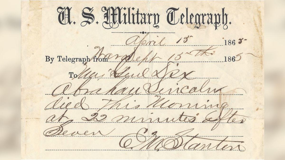 Telegram z informacją o śmierci Abrahama Lincolna wystawiony na sprzedaż