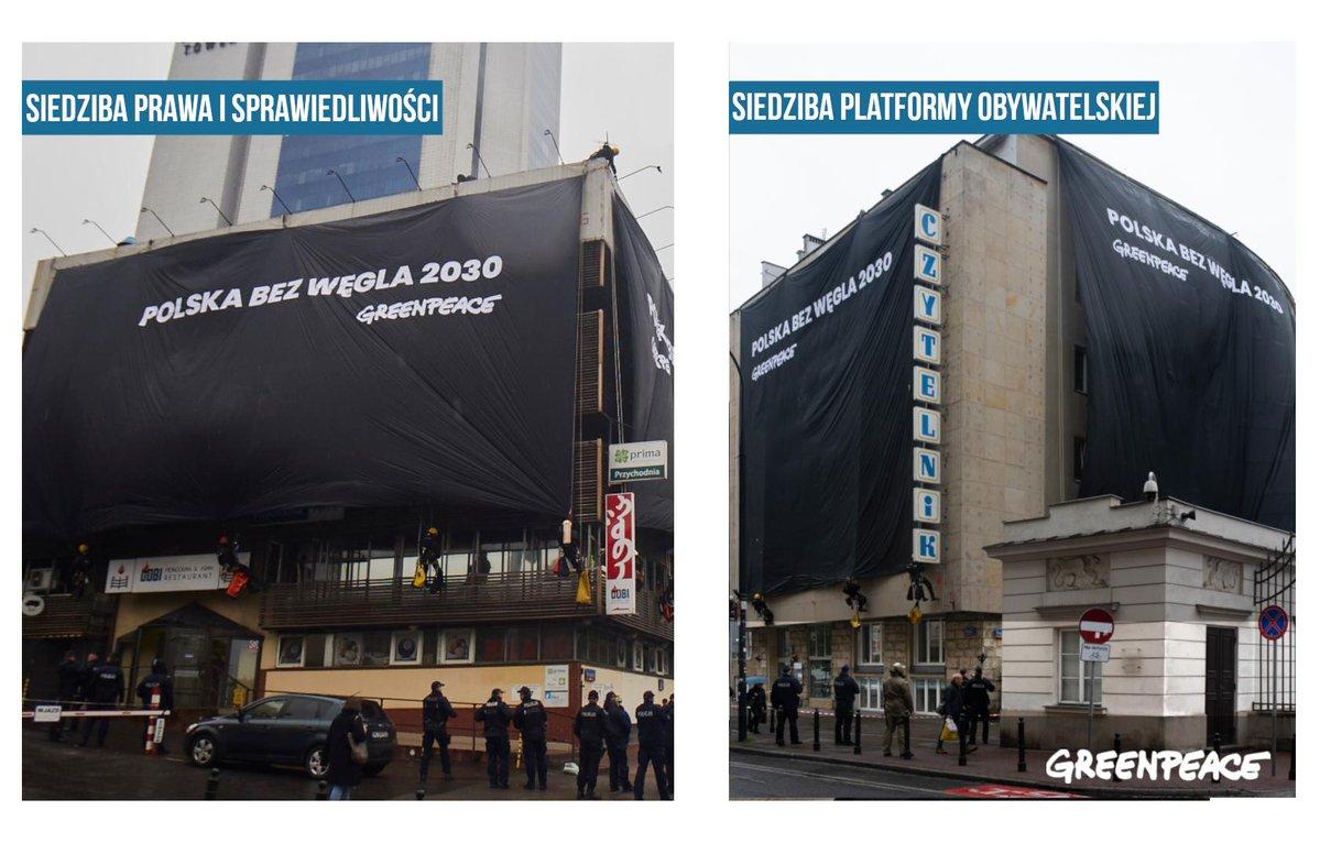 Akcja Greenpeace: Czarne transparenty na siedzibach PiS i PO [foto]