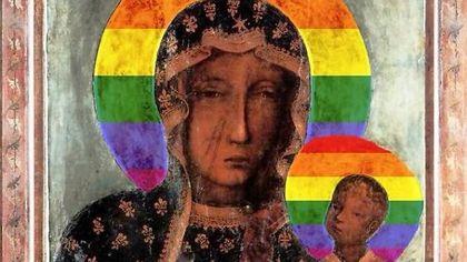 """Warszawa: """"Tęczowe"""" wizerunki Matki Bożej Częstochowskiej na murach sanktuarium i klasztoru przy ul. Żytniej"""