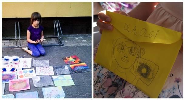 Białystok. 7-letnia Krysia sprzedawała swoje obrazy pod sklepem by pomóc koleżance