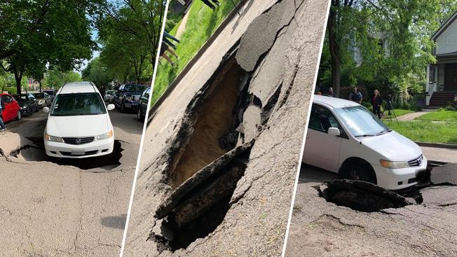 Samochód wpadł do dziury w dzielnicy Ravenswood