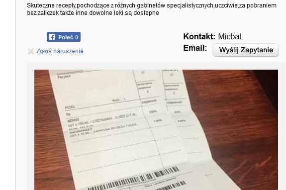 Wrocław: Fałszywe recepty na lek z narkotykiem dostępne w internecie