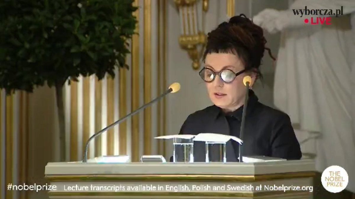 Olga Tokarczuk wygłosiła mowę noblowską. Nie obyło się bez politycznych aluzji